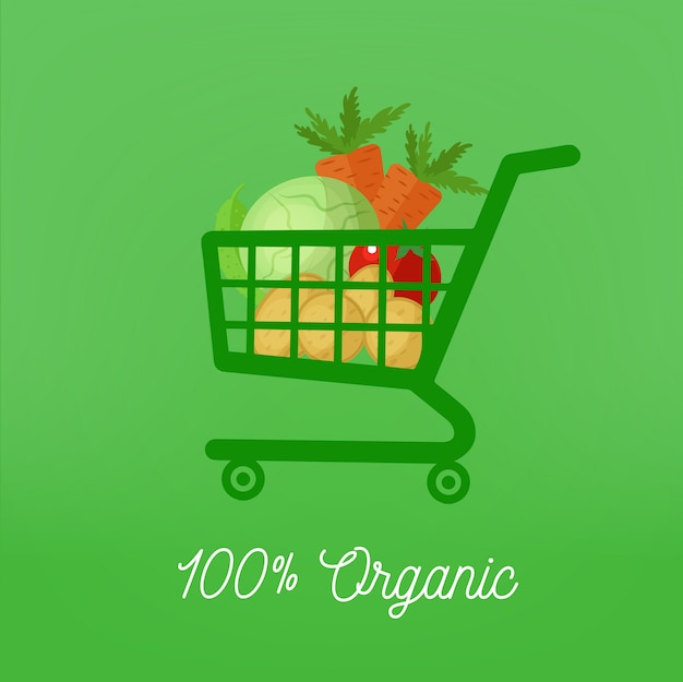 Organic healthy food with shopping cart