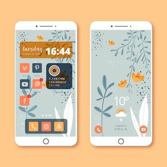 スマートフォン用オーガニックホーム画面テンプレート