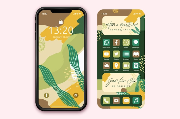 Organic home screen template for smartphone