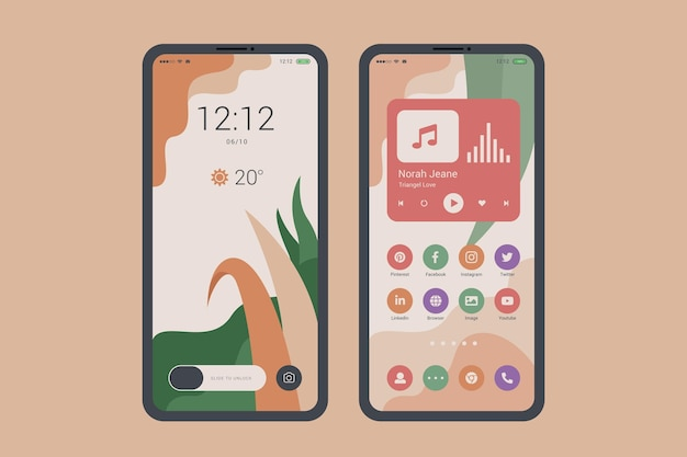 Organic home screen theme for smartphone