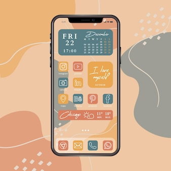 Organic home screen with abstract background