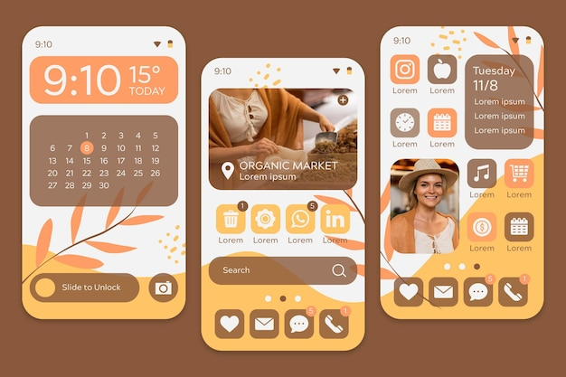 Organic home screen with woman