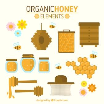 평면 디자인의 유기농 꿀 요소 컬렉션