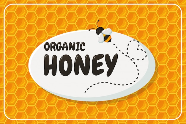 Organic honey label with honeycomb design