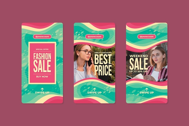 Organic instagram sale post collection Free Vector