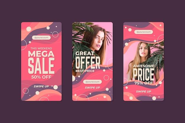 Organic instagram sale stories collection Premium Vector