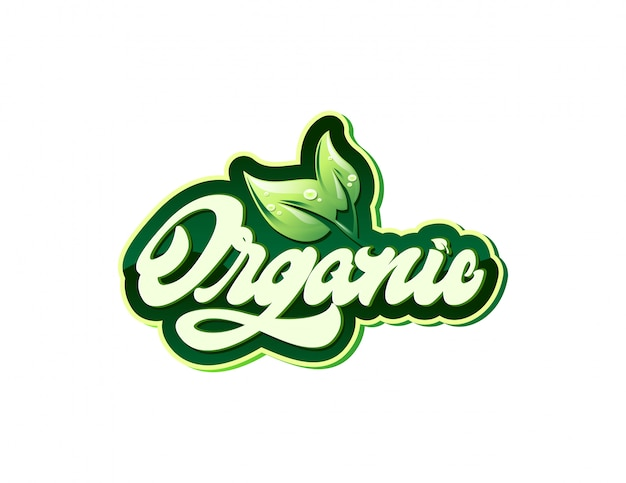 Organic label in lettering style