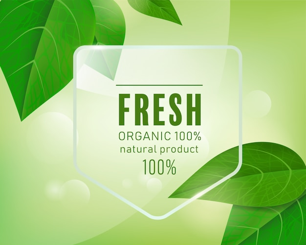 Organic label natural green background with leafs.