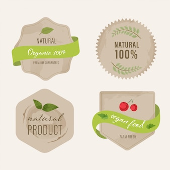 Organic label and natural label green color design.