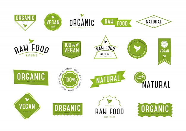 Organic labels set. collection various logo.