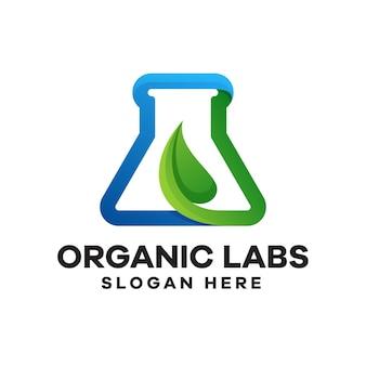유기 실험실 그라데이션 로고 디자인