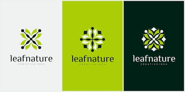 Органический лист логотип с вращающейся концепцией дизайн логотипа роскошный лист вращающийся цикл графический вектор