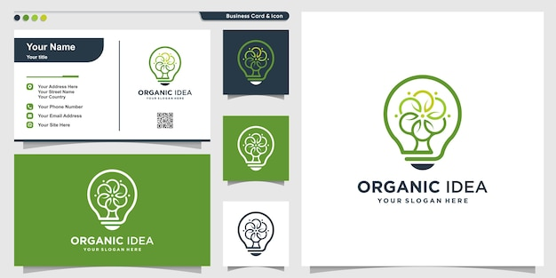 Organic logo with modern creative tree style and business card design template, tree, nature, modern
