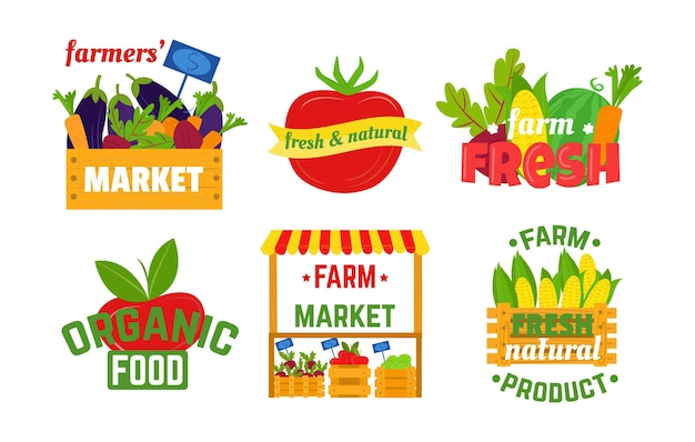 ファーマーズマーケットと有機食品のオーガニックロゴ