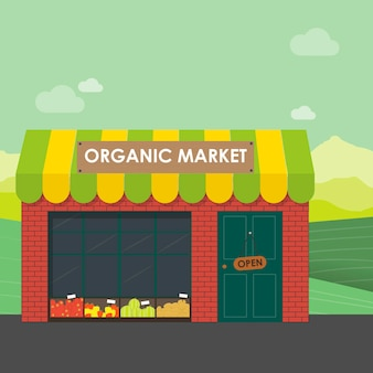 유기농 시장 개념입니다. 유기농 야채와 과일 바구니가 있는 가게의 벡터 삽화. 정원에서 직접 매장으로 천연 제품을 배달합니다.