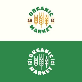 小麦色のラインスタイルで設定されたオーガニックマーケットエンブレム