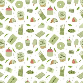 유기농 말차 원활한 psttern입니다. 말차라떼, 컵케이크, 롤, 파우더, 마카롱, 차. 벡터 손으로 그린 만화 그림입니다. 모든 요소가 격리됩니다.