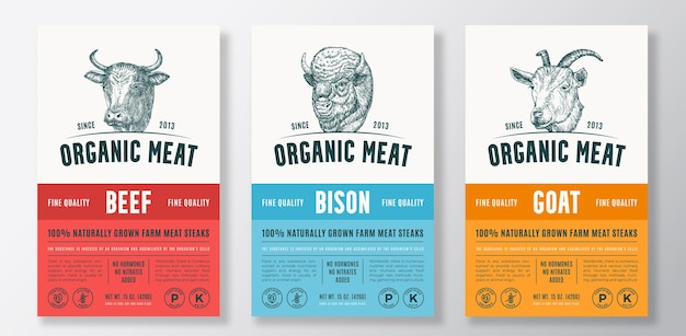 Organic meat abstract vector packaging design or label templates set. farm grown steaks banner. modern typography and hand drawn cow, bison and goat head silhouettes backgrounds layout collection.