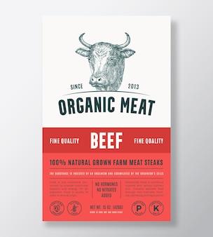 有機肉の抽象的なベクトルパッケージデザインまたはラベルテンプレート農場で育てられたビーフステーキバナーモダン...