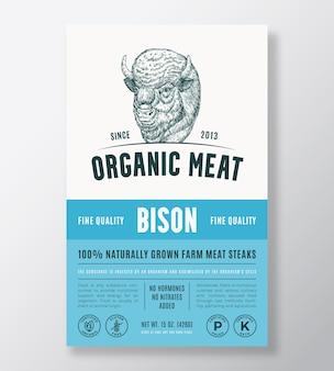 有機肉抽象的なベクトルパッケージデザインまたはラベルテンプレート農場で育てられたバイソンステーキバナーモデラー...