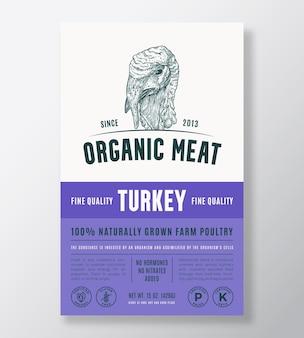 有機肉の抽象的なベクトルパッケージデザインまたはラベルテンプレート農場で育てられた家禽のバナー現代のタイプ...