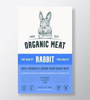 有機肉抽象的なベクトルパッケージデザインまたはラベルテンプレート農場で育てられたステーキバナー現代のタイプミス...