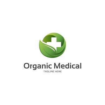 Organic medical with green leaf and cross logo
