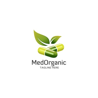 Organic medicine with green leaf logo