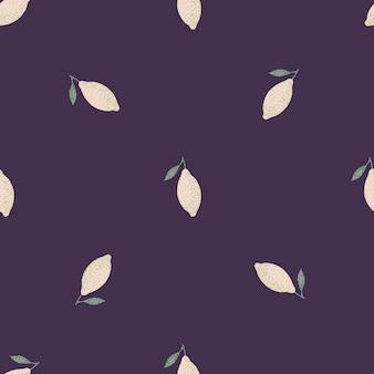 ライトレモンのシルエットとオーガニックのミニマルなシームレスパターン。紫の背景。ストックイラスト。