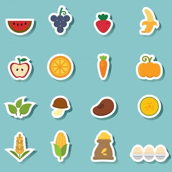 Organic natural food icons