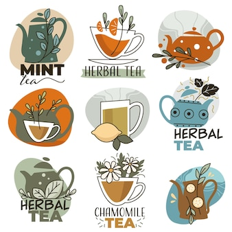 Organic and natural herbal tea with different flavors