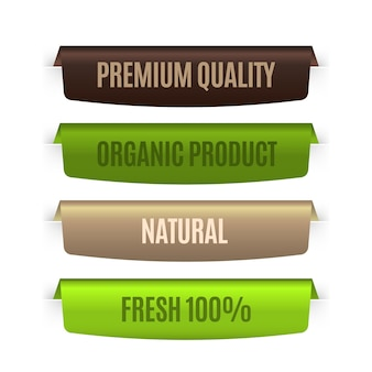 Organic natural labels in different colors