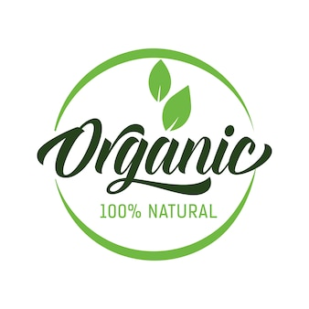 Organic natural lettering in round frame