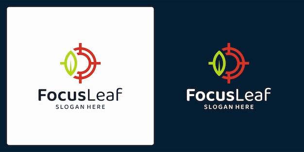 잎과 목표 로고가 있는 유기농 천연 제품 로고. 벡터 프리미엄.