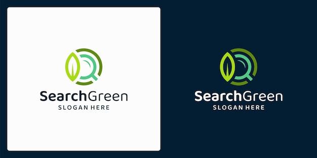 잎과 돋보기 로고가 있는 유기농 천연 제품 로고. 벡터 프리미엄.