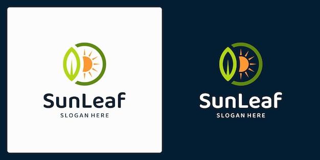 잎과 태양 로고가 있는 유기농 천연 제품 로고. 벡터 프리미엄.