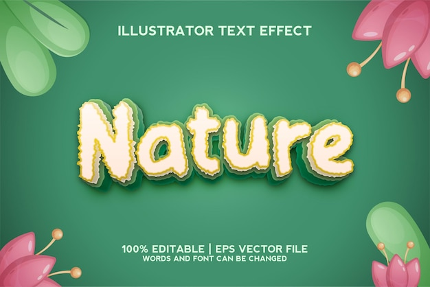 Organic natural text effect, editable green and nature text style
