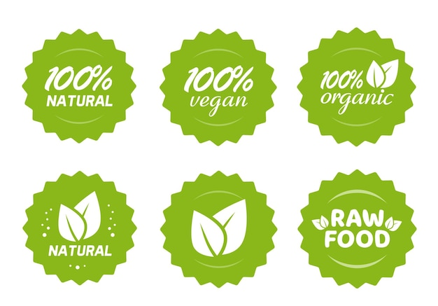 Organic natural vegan and raw food nutrition icon label stickers with leaves set