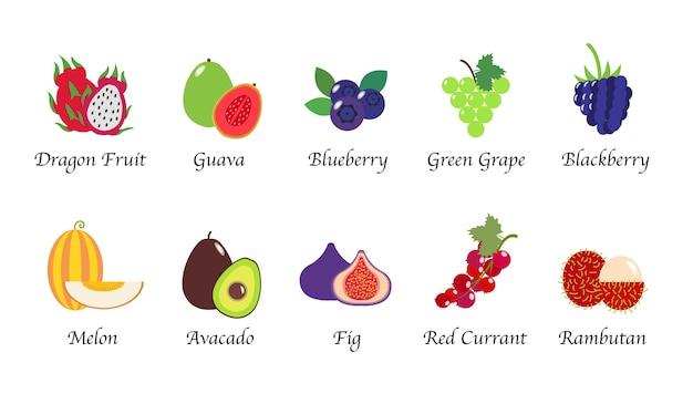 유기 자연 건강 과일 격리 컬렉션