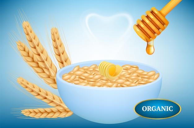 Органическая овсянка. реалистичная миска каши с медом. горячие овсяные хлопья со сливочным медом колосья пшеницы. иллюстрация овсяная каша с маслом и медом