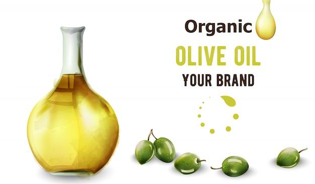 Organic olive oil in bottle