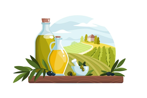 Organic olive oil product in bottle