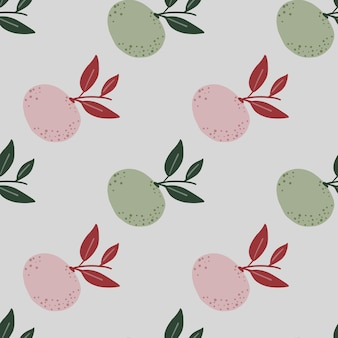 Organic pale tones seamless pattern with pink and green mandarin ornament.