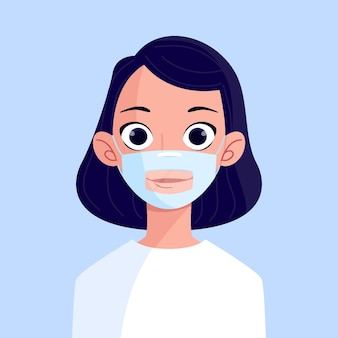 Organic people with clear face mask for deaf