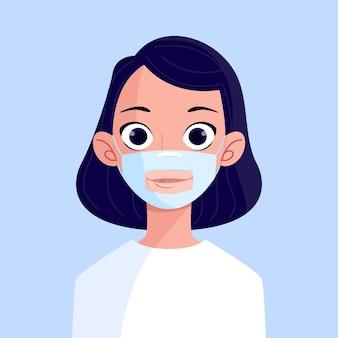 청각 장애인을위한 투명한 안면 마스크를 가진 유기 사람들