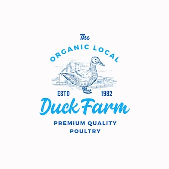 The organic poultry farm logo template. hand drawn duck silhouette