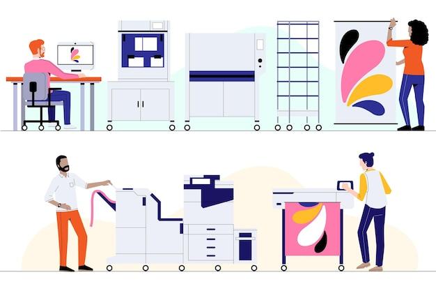 Органическая полиграфическая промышленность иллюстрирована Бесплатные векторы