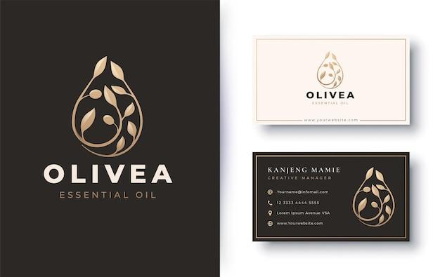 유기농 제품 올리브 오일 로고 및 명함 디자인
