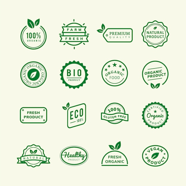 Organic product stamp emblems set illustration