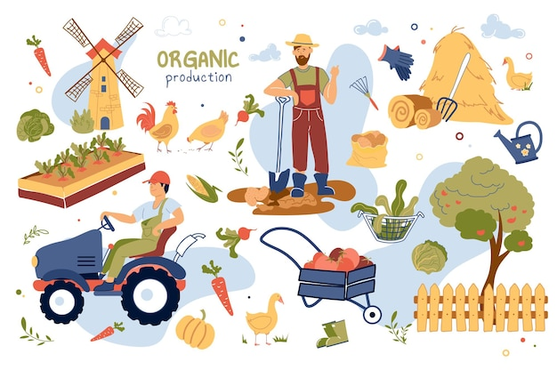 Organic production concept isolated elements set